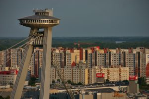 SNP Bridge UFO and Petrzalka in Bratislava
