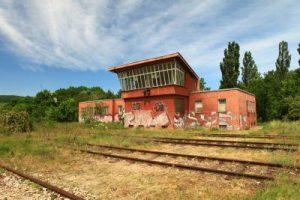 Abandoned train station in brownfields of Bratislava