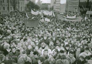 The Velvet Revolution at the SNP Square in Bratislava