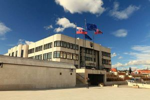 The Slovak Parliament building from the turn of 80's and 90's