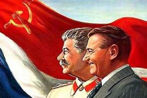 The first communist president of Czechoslovakia Klement Gottwald and Stalin (Propaganda of Czechoslovak-Soviet friendship)