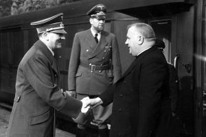 Slovak President during WWII Jozef Tiso shaking hand Adolf Hitler