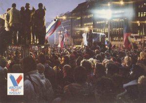 The postcard with the photo from the SNP Square, logo of the movement VPN - Verejnosť proti násiliu (Public against violence), Gabriel Hošovský Archive