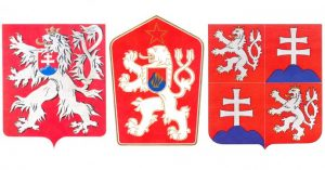 various signs of Czechoslovakia throughout the decades
