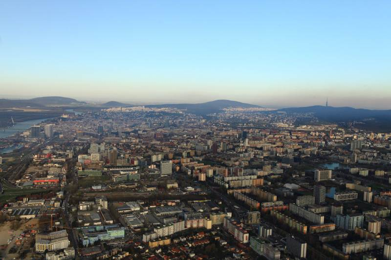 Bratislava skyline and view to Austria