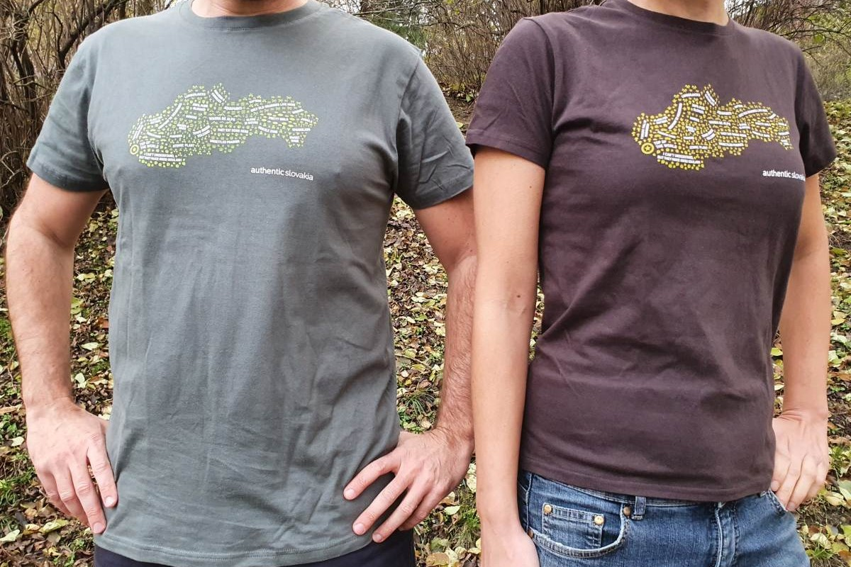 T shirts with Slovak Stereotypes map